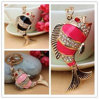 Cheap 2014 New Creative Lovely Carp Fish Crystal Purse Bag Key Chain Gift Free Shipping