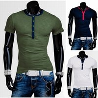 barrel t shirt - 2015 new classic hit color wrapping design men barrel collar slim short sleeved T shirt
