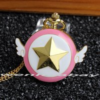 Wholesale Relogio DeBolso Anime Cardcaptor Sakura Scepter CP Star Wings Magic Pocket Watch Necklace Pendant Chain Fashion New Girl