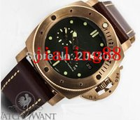 Wholesale NEW ARRIVAL Factory Seller Brand New Luxury Sub Pam Pam382 k Rose Gold Green Dial Automatic Mens Watch Leather Strap Men s