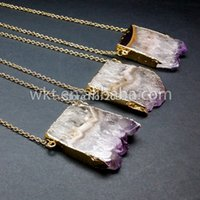 amethyst slices - Hot sales natural slice druzy amethyst necklace unique stone necklace fashion stone druzy necklace with gold edged