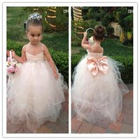 bead shop online - LM New Real photo Kids Girl s Pageant Dresses Back bow beads Online Shopping Flower Girl Dress With Spaghetti Straps Draped