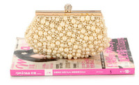 Wholesale Luxury Wedding Accessories white gold cm big pearls Floral Party Prom women Hand bags Bridal Hand Bags