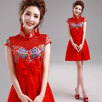 Wholesale Bridal wear wedding toast red short sleeved dress Chinese cheongsam dress gown New Dragon TB939