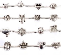 Wholesale Fashion Silver Charm Beads fit European Bead Bracelet Necklace Variety of Styles Shipped Randomly