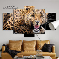 Cheap The jaguar unframed canvas painting&Calligraphy modern HD waterproof lnk multi-picture Home Decor art livingroom&office wall