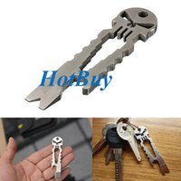 Wholesale Outdoor Tactical EDC Multifunction Pocket Survival Tool Pure Stainless Key Chain Pry Bar Bottle Opener