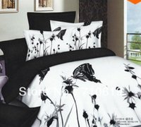 Wholesale Black and white bedding set bedding a family of four unique D comforter bedding sets comforters queen king quilt set freight rates