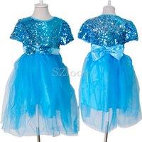 Cheap Snow Queen Elsa Anna dress Best sundress Sequins