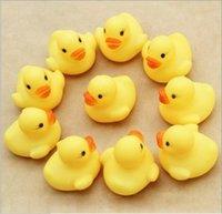 Cheap Baby Bath Water Toy toys Sounds Mini Yellow Rubber Ducks Kids Bathe Children Swiming Beach Gifts