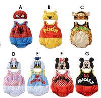 baby tanktop - Children kids Clothes Baby Boy Summer One Piece Suit Cotton Cartoon Spiderman Pooh Mickey Tanktop Romper with cap piece set