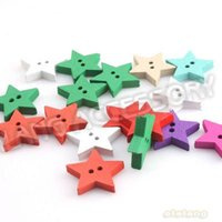Cheap On Sale 450pcs lot Mixed Color Wooden Star Shape 2-Hole Button Fit Handcraft&Costume Sewing 19x19x3mm 161195
