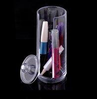 Wholesale Hot Fashion ClearBarrel shaped Acrylic Crystal Cosmetic Organizer Makeup Case Holder Storage Box