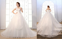 sexy wedding dresses - 2015 Vinatge Wedding Dresses Lace Cheap Under Sexy In Stock Ball Gowns Long Train Bridal Dress Plus Size Backless Formal Sheer Crystal
