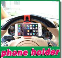 4 wheel - Car Steering Wheel Phone Socket Holder Mount Rubber Band SMART Cradle Streeling Clip Car Bike For iPhone Plus S6 Note GPS