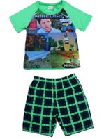 Cheap large baby pajamas summer new minecraft baby sleepwear suit 6-12y boy-kids t-shirts+Pants minecraft clothes minecraft pyjamas 50pcs