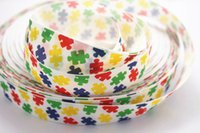 autism grosgrain ribbon - Hot sale yards quot mm multicolor Autism awareness heart love autistic puzzle Printed grosgrain ribbon