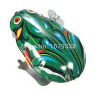 Wholesale High Quality Vintage Metal Wind up Jumping For Frog Model Clockwork Tin Toys Collectible Classic Gift For Children