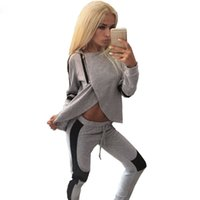 Wholesale Fashion Zipper Split Hooded Tops Pants Suit Women Casual Sport Suit O Neck Tracksuit Piece Set Moletom Feminino S XL