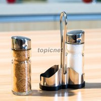 bamboo salt box - ASLT Set of Glass Spice Jar Seasoning Box Salt Sugar Pepper Bottle Kitchen order lt no track