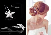 stick pins - Shinning Starfish Bridal Hair Accessories Diamonds Bridal Party Wedding Prom Crystal Hair Pins Hair Stick Girl Wedding Hair Accessories