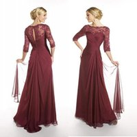Wholesale 2016 Burgundy Long Sleeves Chiffon Mother of the Bride Dresses Sheer Bateau Lace Neckline Floor Length Mother Prom Evening Dresses