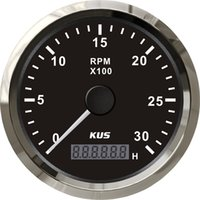 Wholesale 85mm quot black faceplate stainless steel bezel tachometer KL high quality for marine car truck