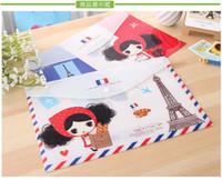 Wholesale Free ship pc Lovely girl A4 Pula document bag data storage bag cartoon snap plastic file bag order lt no tracking