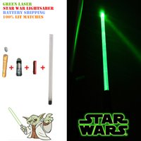 Wholesale 8 in Laser Cap Green Laser Lightsaber Star War Cool Cosplay Luxurious Laser Pointer Set Battery Provide Laser Sword Light Up Your Party