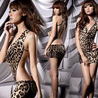Wholesale Sexy Women s Leopard Print Lingerie Underwear Panther Print Sleep Wear Mini Dress DS cosplay Sex Underwear Erotic Underwear