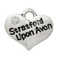 avon - Charm Pendants Heart Antique Silver Message quot Stratford Upon Avon quot Carved With Rhinestone mmx14mm new