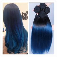 Cheap hot sale 3Pcs lot 8A Brazilian Virgin Ombre Straight Hair Extensions 1b blue Two Tone Human Hair Weave Free Shipping
