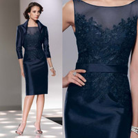 Wholesale Knee Length Dark Navy Mother of the Bride Dresses Suit Vintage Sleeves Jacket Mother s Suit Cheap