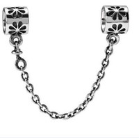 Wholesale 50pcs Fashion Vintage Pandora Tibetan Silver Safety Catch Chain Plated Beads CM Length