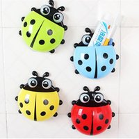 Cheap [4 colors] Cute Ladybug Cartoon Sucker Toothbrush Holder suction hooks   Household Items   toothbrush rack   bathroom set