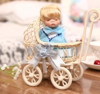 baby decorations ideas - Tanabata couple gift ideas Home Decoration simulation doll cradle sleeping baby stroller pottery blue
