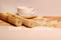 bamboo placemats - Quality Natural Bamboo Flower Printing Mat Coaster Cup Mat Potholder Placemats Tray Mat Multi colors