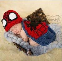 Wholesale spiderman Kid Infant Newborn Baby Girl Knit Crochet Clothes Photo Prop Outfit Set Suit Costume Sweater flower hat
