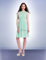 Wholesale Mint Green Simple knee Length Bridesmaid Dress Ruffles Chiffon A Line Maid Of Honor Dress For Wedding
