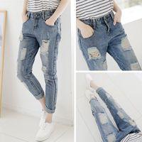 Wholesale 2015 Korean fashion loose hole jeans female beggar pants big yards was thin pantyhose female harem