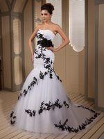 Wholesale Fabulous Vintage Black And White Wedding Dresses Real Photo Applique Backless Elegant Mermaid Wedding Dress Corset Strapless Bridal Gowns