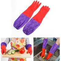 long rubber gloves - Kitchen Waterproof Long Sleeves Wash Rubber Latex Thick Cashmere Gloves Houldhold Clean Laundry Supplies