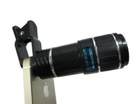 al por mayor clips ópticas-Universal 12x 70 zoom lente óptica teléfono móvil telescopio lente de la cámara para el iPhone para Samsung clip ocho multiplicador con titular