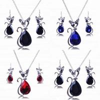 Wholesale Cat Shape Pendant Necklace Earrings Set Rhinestone Pendants Earring Charming Jewelry Sets TL9378