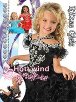 Wholesale 2015 Kids Pageant Gowns Halter Off Shoulder Organza Ruffles Ball Gown Cupcake Skirt Nice Tutu Crystal Girls Pageant Dresses GB213