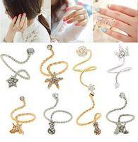 Wholesale New Fashion Korean Rhinestone Starfish Butterfly Flower Spiral Opening Midi Finger nail Rings Jewelry