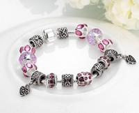 awareness glass beads - 2015 Newest Fashion Diy Crystal Bracelet Retro Glass Bead String Cancer Awareness Ribbon Dangle Murano Crystal Bead Charm Bracelet Finding