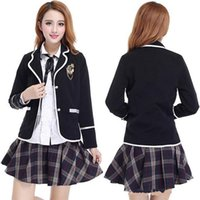Wholesale Sexy Hot School Girl Costume - Hot Sale Red Gray Japanese Korea school uniforms sailor business suit Navy style Sexy Students clothes for Girl Plus size Lala Cheerleader c
