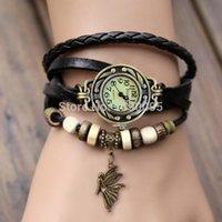 Wholesale Popular Unisexy Quartz Angel Pendant Weave Wrap Synthetic Vintage Leather Bracelet Wrist Watch