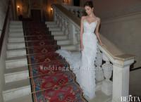 Cheap Berta Trumpet Spaghetti Straps Wedding Dresses Mermaid Appliques Sweetheart Sleeveless 2015 New Custom Cascading Ruffles Lace Bridal Gowns